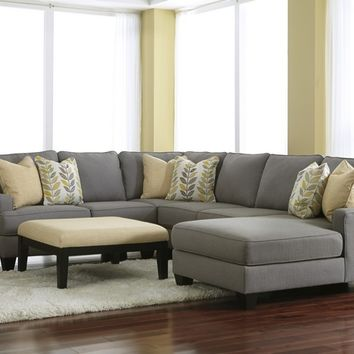 Ashley Furniture 24302-55-77-46-17 4 pc chamberly ii collection alloy fabric upholstered sectional sofa with squared arms and chaise