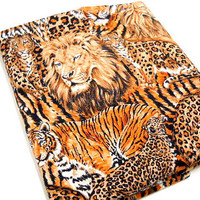 Animal Print by Robert Kaufman, Lion Print Fabric Remnant, 1 yard, Quilt Quality Cotton Fabric