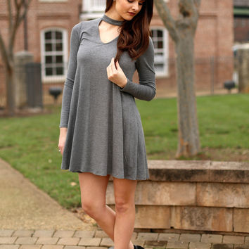 Way to my heart dress- charcoal