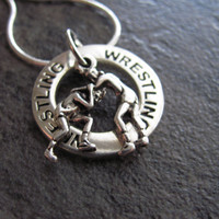 Wrestling Necklace Silver Wrestling Charm by SilveradoJewelry