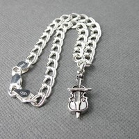 Cello Flute Clarinet Charm Bracelet Sterling Silver With Chain Adjusts