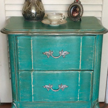 Turquoise Distressed NIghtstand 1950s French Provincial