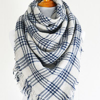 Checker Plaid Blanket Scarf
