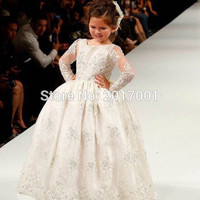 2016 White/Ivory Long Sleeve Lace Appiques Ball Gown Flower Girl Dresses First Communion Dress for Girls Pageant wedding party