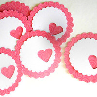 18 Adhesive Labels - 2inch Scallop Circle, Pink Swirl, Heart Punched, Gift Tags, Baby Shower Favors, Mason Jar Labels, Cupcake Toppers
