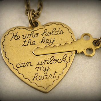 His and Her Necklaces - Key to My Heart Necklaces - He Who Holds the Key Can Unlock My Heart - Boyfriend Girlfriend Gift - 2 Necklaces
