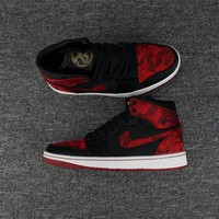 Air Jordan 1 Retro High Black Gym Red White Embroidery Sneakers - Best Deal Online