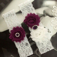Plum and White Wedding Garter Set,Rustic Purple Garter With Shabby Flower, Country Wedding, Plum Purple Wedding MG241