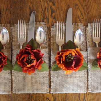 Burlap Silverware Holders with Fall Colored Silk Flowers, Set of 4