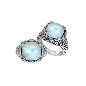 "AR-6227-RM-8"" Sterling Silver Ring With Rainbow Moonstone"