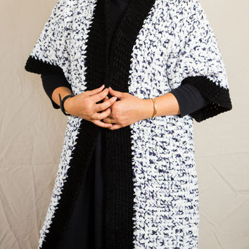 LVO-161  Reversible Kimono Jacket-Hand Crochet-Ready to Ship