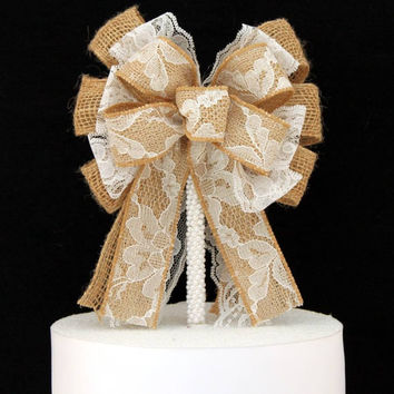 Lace Burlap Rustic Wedding Bow Cake Topper