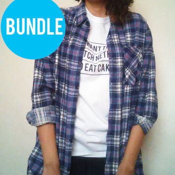 Bundle, Cool Toned Mystery Flannel and Tee, Hipster, Oversized, Grunge Outfit Tumblr shirts, Flannels,EDProductions