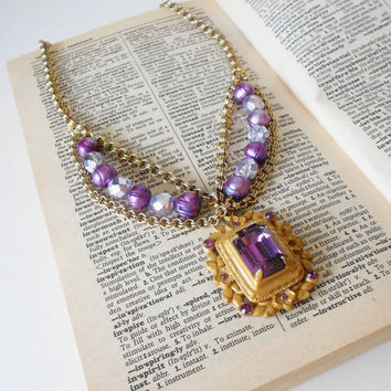 Purple Royals Festoon Statement Necklace