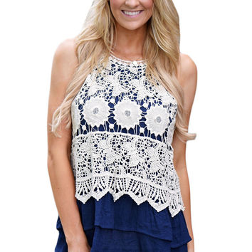 Floral Lace Crochet Blue Ruffle Layered Tank Top LAVELIQ