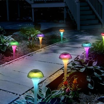 Outdoor Solar Powered Mushroom Shaped Lamp IP44 Waterproof LED Color Changing Light for Garden, Patio, Lawn, Yard, Pathway