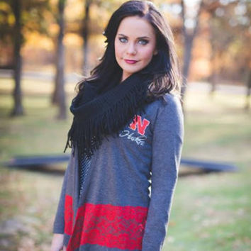 Nebraska Cornhuskers Women's NCAA Laser Trim Color Block Cardigan
