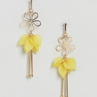 ASOS Cut Out Flower and Resin Petal Earrings at asos.com