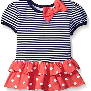 Baby Girls' Short Sleeve Drop Waist Top with Hemmed Double Ruffle