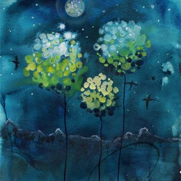 Four Moons - Art Print magnolia trees night landscape deep blue watercolor painting moonrise bathroom home decor ideas Oladesign 11x14