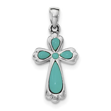Sterling Silver Rhodium-plated Polished Imitation Turquoise Cross Pendant QC8144