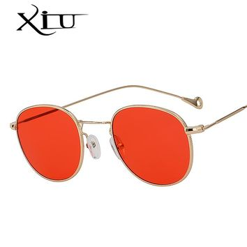 XIU Oval Shades Steampunk Sunglasses Men Women Brand Sunglass Designer Metal Frame Glasses Elegant Style Luxury Quality UV400