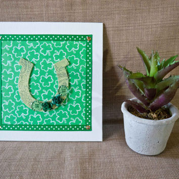 St. Patrick's Day - Embellished Mini Canvas - Spring Decor