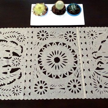 Papel picado Mexican table runner, Mexican theme party Decorations, Fiesta bridal shower decor, desert sand color table runner, TR30