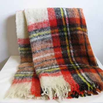 Vintage 1980s Wool Blanket Sears Orange Black Plaid Wool Mohair Blend 80s Throw Made in Italy