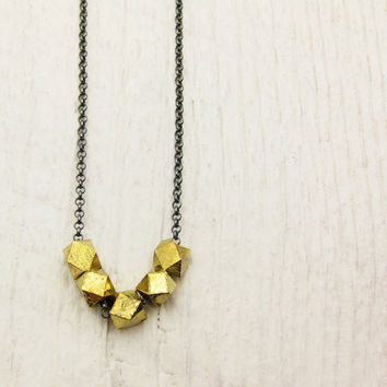 Gold Geometric Nuggets Necklace / Oxidized Sterling by byjodi