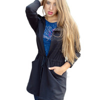 Long-Sleeved Coat Jacket in Gray or Black