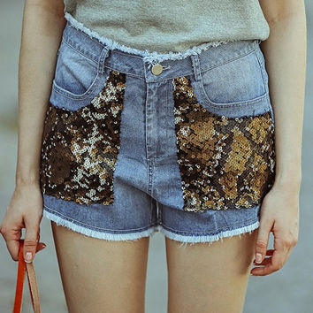 Blue Four-Pocket Frayed Sequins Denim Shorts