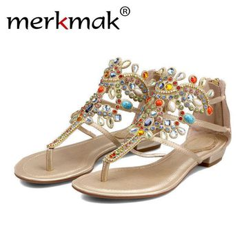 Merkmak Women Sandals Rhinestone Female Summer Casual Flats Shoes Peep-toe Roman Sanda