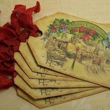 Christmas Tags - Vintage Style - Vintage Street Scene - Set of 6
