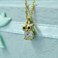 Cute Owl Necklace, Gold Plated Brass, Cubic Zirconia, Delicate Chain, Everyday Wear, Perfect Gift