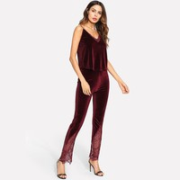 Women's Velvet Matching Pajama Set