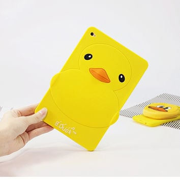 3D Cute Protective tablet Soft Silicone shockproof little yellow duck back Cover Case for Apple iPad mini 4 3 2 1 iPad Air air2