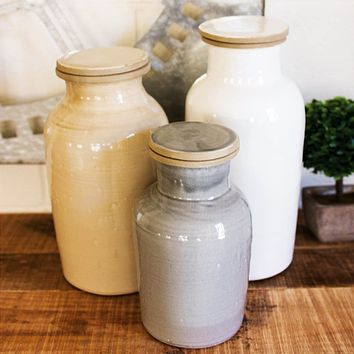 Ceramic Canisters - One Each Color (Set of 3)