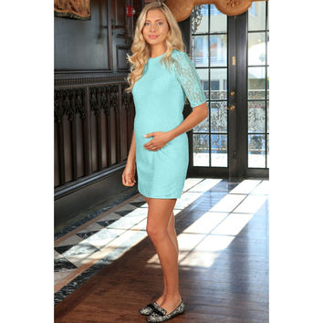 Mint Blue Stretchy Lace Sleeved Summer Shift Dress - Women Maternity