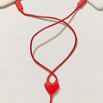 Kikkerland Design Dual Heart Lightning Cable   Urban Outfitters