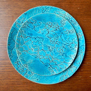 wedding tableware round ceramic plate texture skies blue floral pattern personalized, dinnerware, dinner plates, housewarming gift, handmade