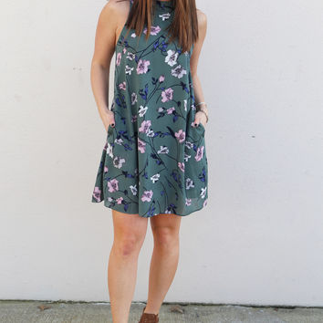Spring Blooms Pocket Dress {Sage}