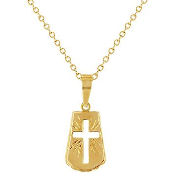 """18k Gold Plated Perforated Religious Cross Necklace Medal Pendant for Kids 16"""""""