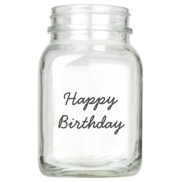 Happy Birthday Typography Handwriting Mason Jar