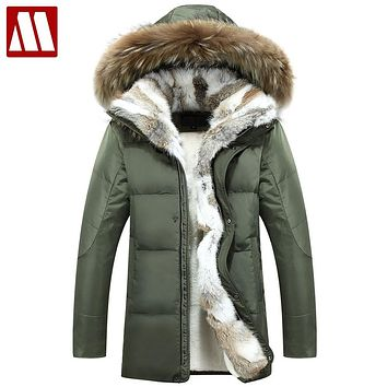 MYDBSH Thick Warm Winter Jacket Parkas Men Casual Fur Collar Hood Military Overcoat Windproof White Duck Down Coat Plue size 5XL