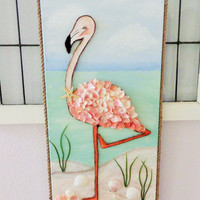Flamingo Artwork- Original Mixed Media Shorebird Painting-Beach Decor on Canvas-12X24 inches