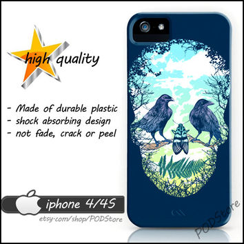 Bird Skull iphone 4 case Day Of The Dead Floral Death Skull iphone4 casing