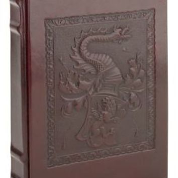 Patina Brown Dragon with Studs Embossed Italian Leather Lined Journal (7