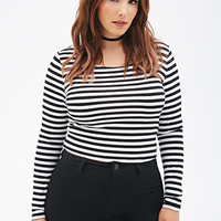 FOREVER 21 PLUS Striped Crop Top