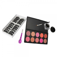 10 Color Blush Palette 10 Pairs False Eyelashes and Eye Liner